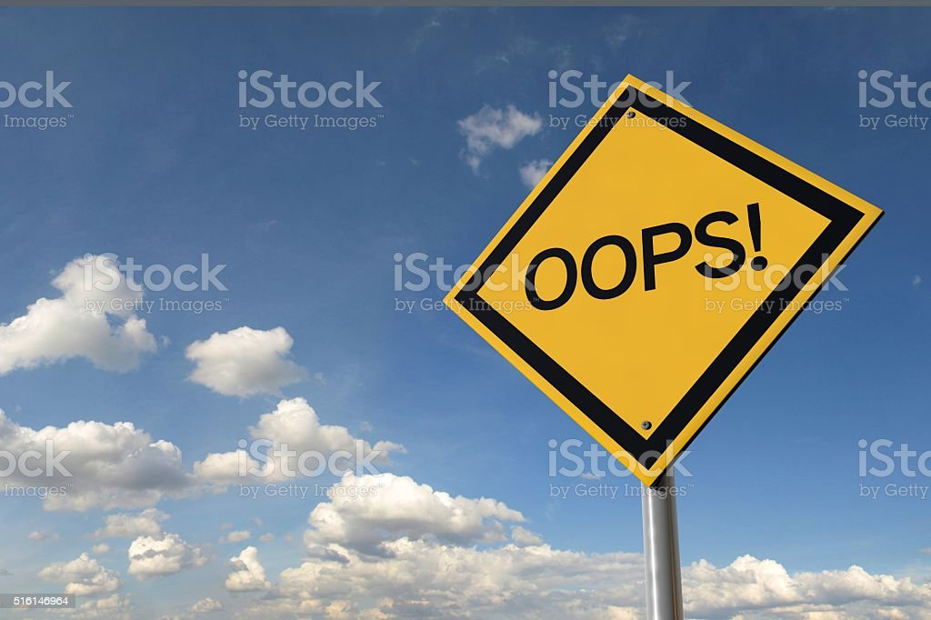 Oops! yellow highway road sign stock photo