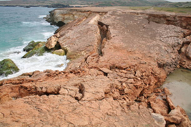 Oops...Aruba's Natural Bridge Fell Down. stock photo