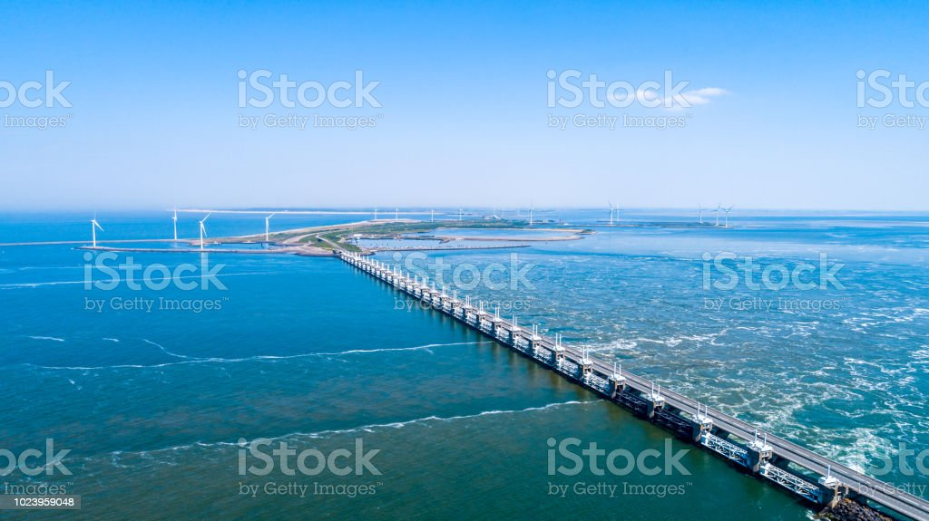 Oosterschelde flood barrier at the Northern Sea in Zeeland the Netherlands from above stock photo