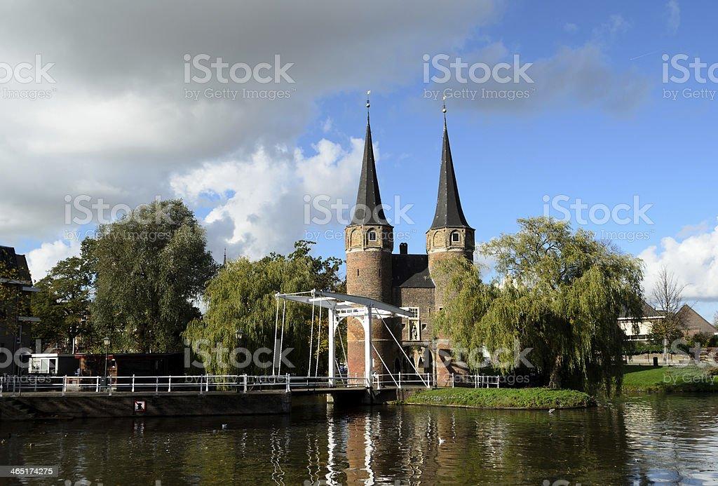 Oostpoort in historical Delft stock photo