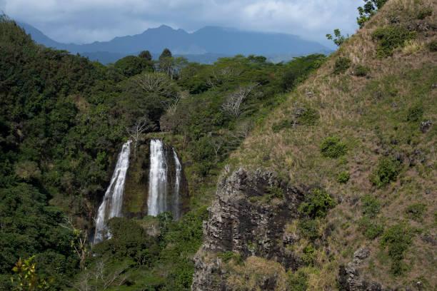 Opaekaa Falls in Kauai stock photo