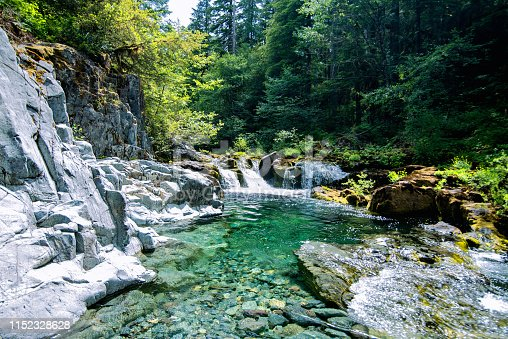 Emerald creek waters running through the forest in Opal Creek