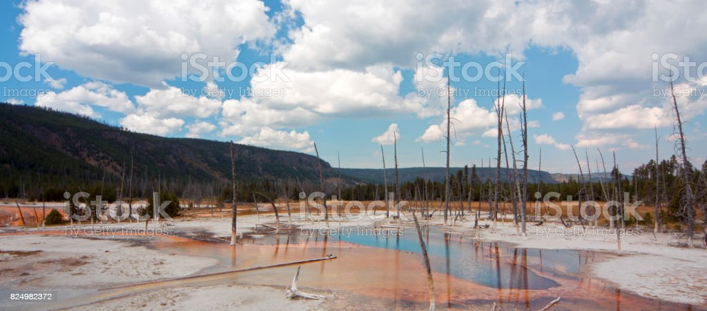 Opalescent Pool hot spring in the Black Sand Geyser Basin in Yellowstone National Park in Wyoming USA stock photo