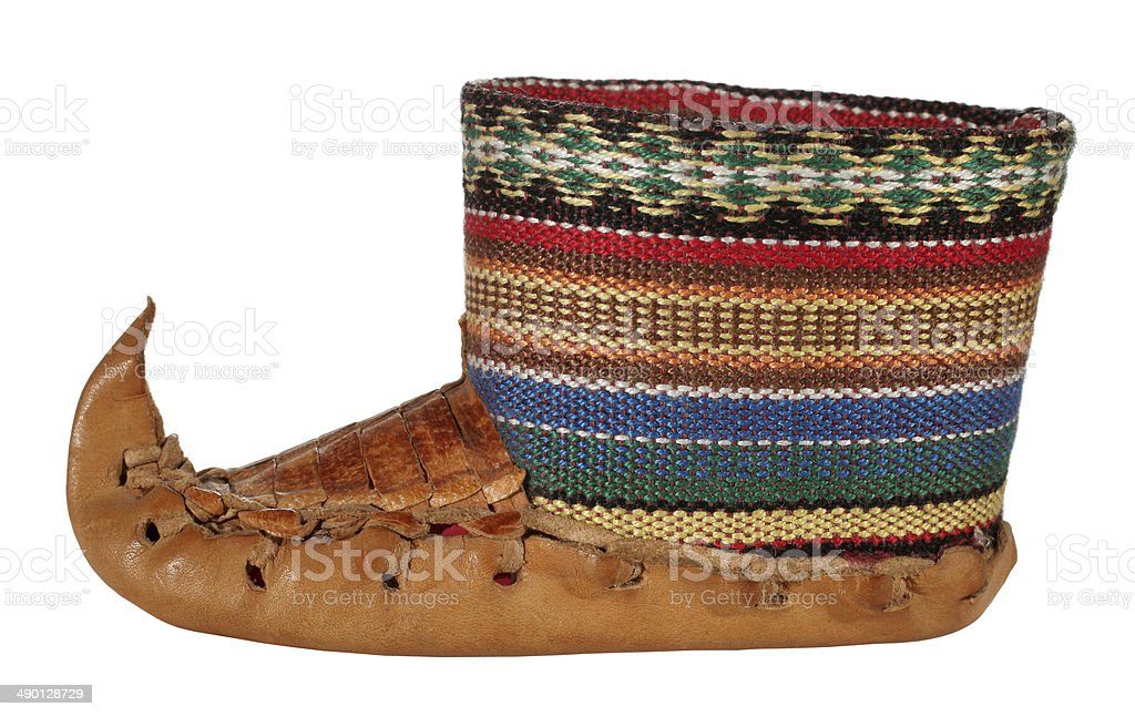 Opanak old traditional Serbian shoe souvenir stock photo