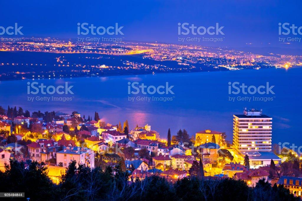Opatija and Kvarner bay evening panoramic coastline view, Primorje region of Croatia stock photo