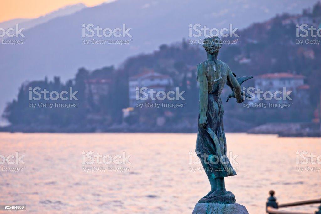 Opatija bay statue at sunset view, Kvarner region of Croatia stock photo