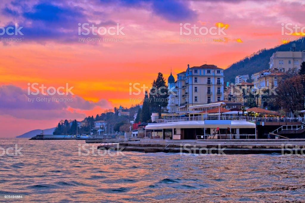 Opatija coastline at burning sundown view, Kvarner bay region of Croatia stock photo