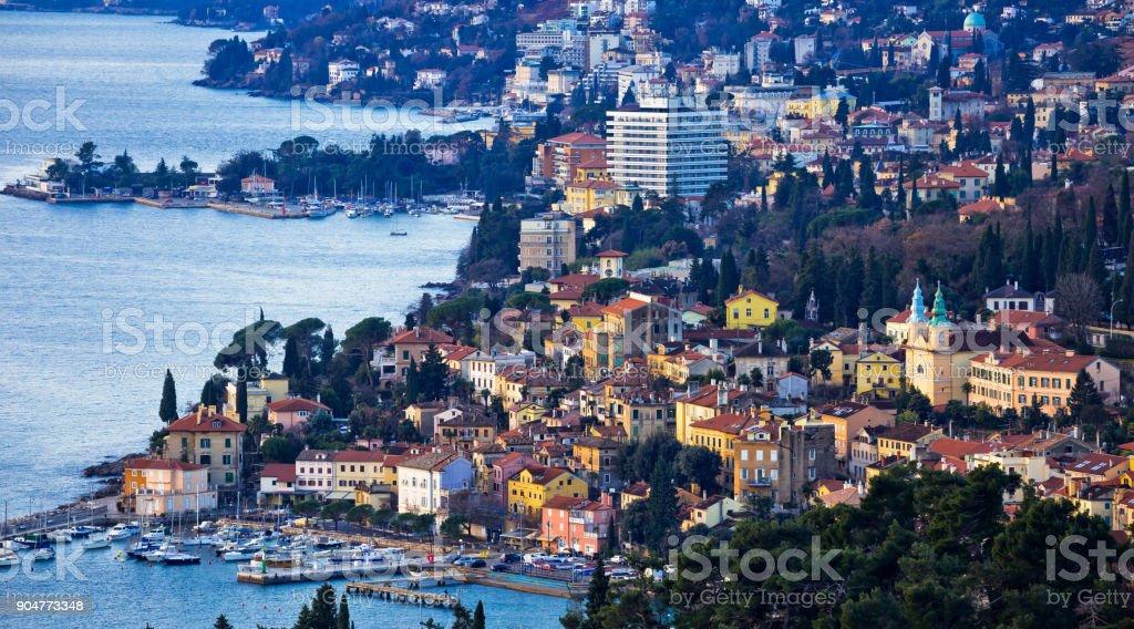 Opatija riviera bay bay and coastline panoramic view, Kvarner region of Croatia stock photo