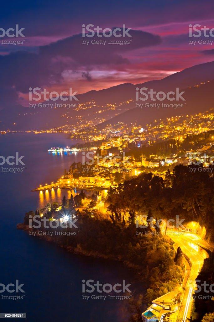 Opatija riviera bay evening panoramic view, Kvarner region of Croatia stock photo