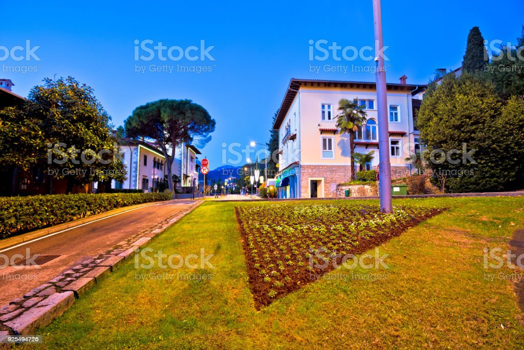Opatija street and Town hall dawn view, Kvarner bay of Croatia stock photo