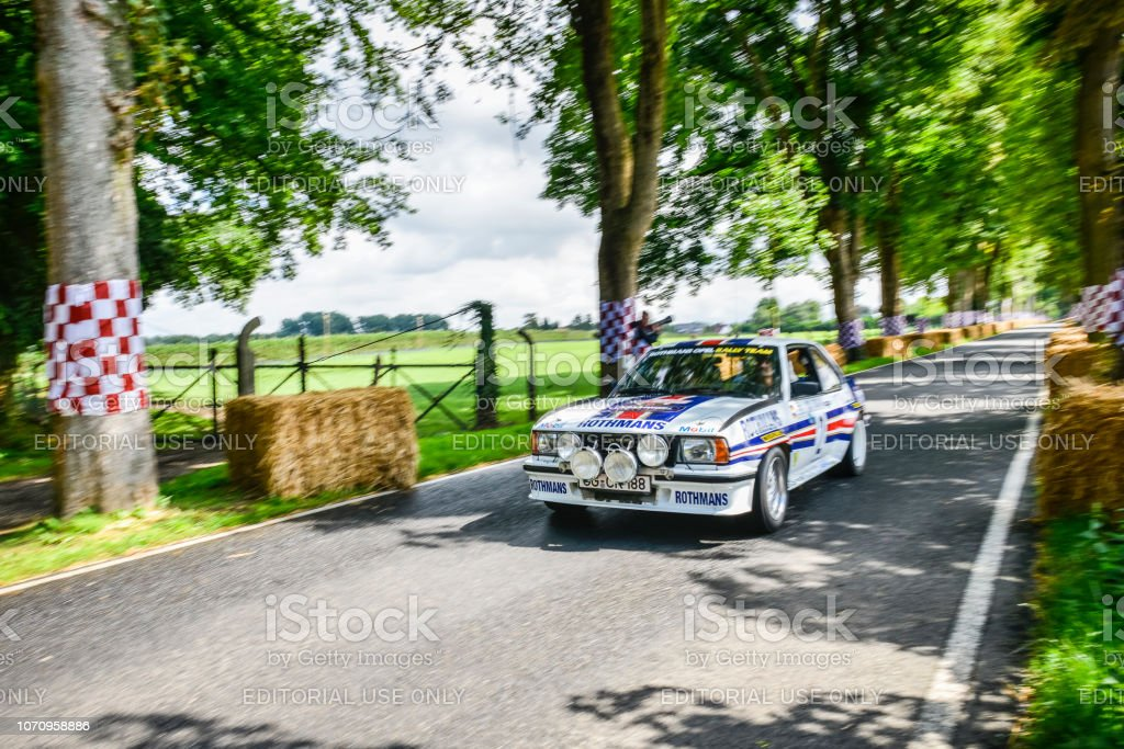 Opel Ascona B400 rally car driving fast stock photo
