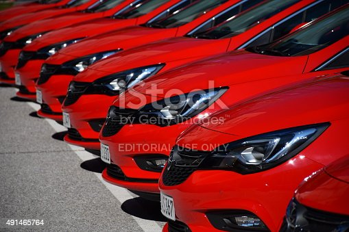 Vien, Austria - 1st October, 2015: Opel Astra cars stopped on the parking during the press launch. The first generation of Astra was debut in 1991 on the market. This model is the most popular car from Opel on the European market.