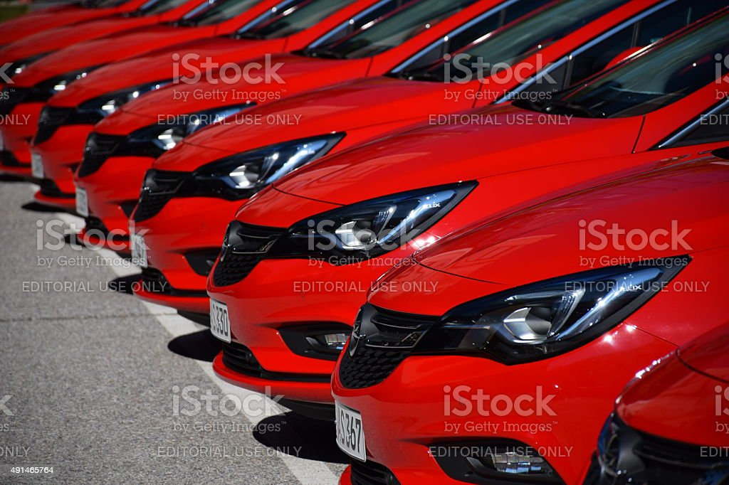 Opel cars in a row stock photo