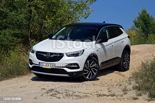 Berlin, Germany - 9th August, 2018: Opel Grandland X stopped on the road. This model is the largest SUV in Opel offer.