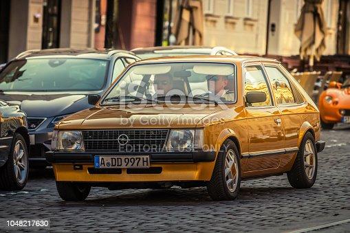 Augsburg, Germany - September 30, 2018: 1983 Opel Kadett D oldtimer car at the Fuggerstadt Classic 2018 Oldtimer Rallye.