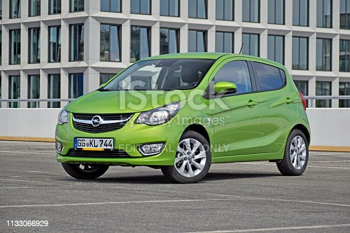 Berlin, Germany - 24th September, 2015: Opel Karl stopped on the parking. The Karl was the cheapest car in Opel offer.