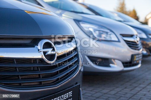 Nuernberg / Germany - March 4, 2018: Opel logo on a car at an Opel car dealer in Germany. Opel Automobile GmbH is a German automobile manufacturer.