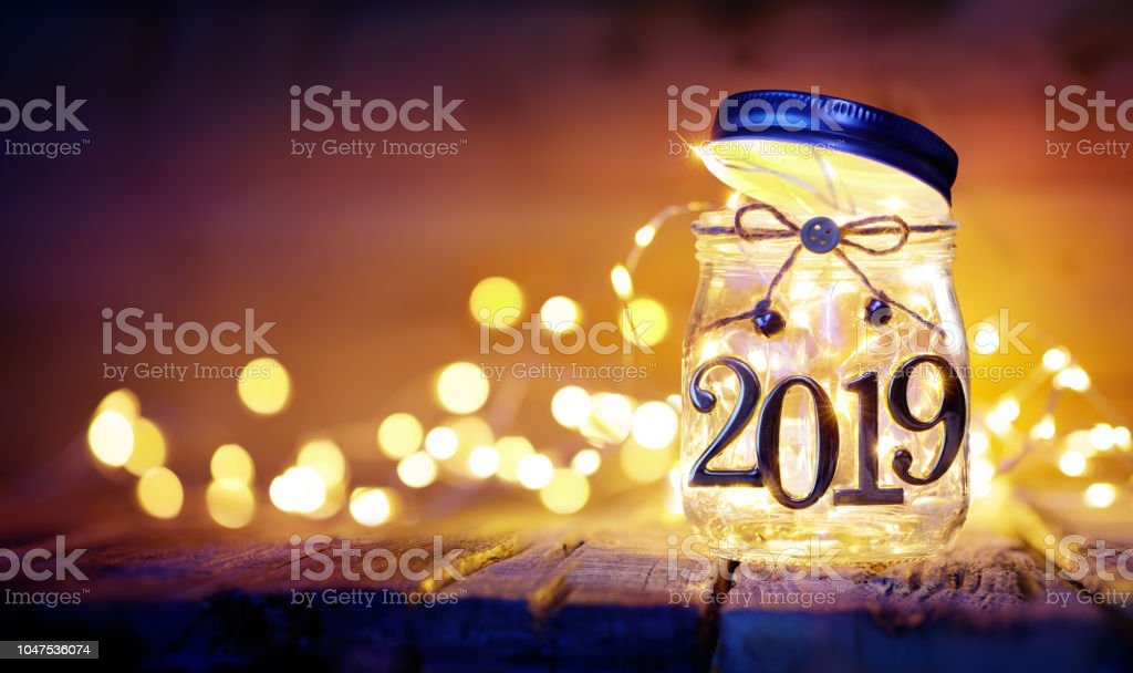 Open 2019 - Christmas Lights In The Jar - Blurred Background stock photo