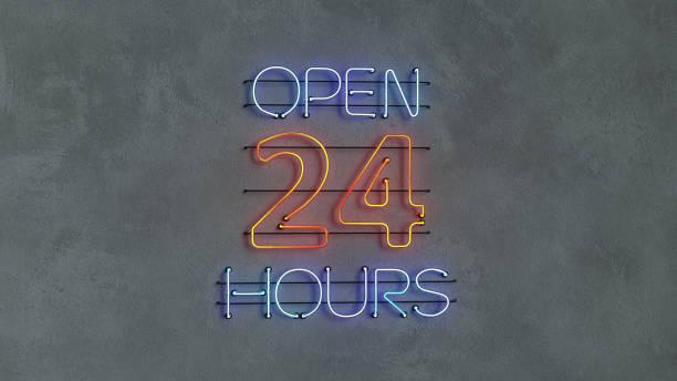 Open 24 hours neon light text 3D render illustration stock photo