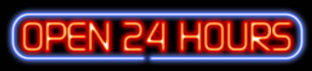 Aberto 24 horas de neon - foto de acervo