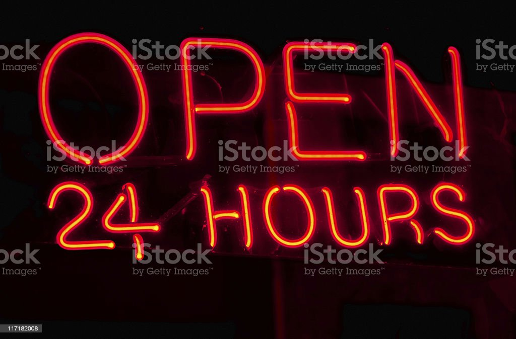 Open 24 Hours Neon Sign stock photo