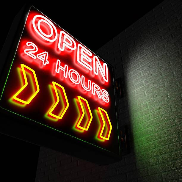 ouvert 24 heures sur 24 - nombre 24 photos et images de collection