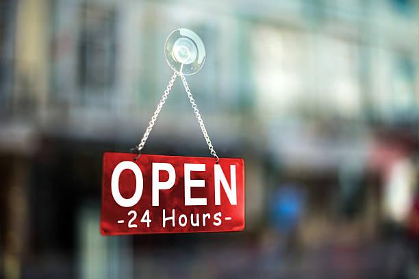 open 24 hours stock photo