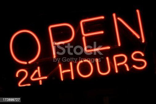 istock Open 24 Hours Red Neon Sign 172899727