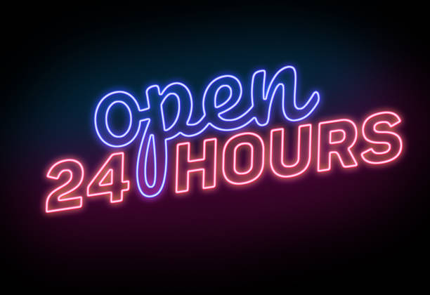 Open 24 Hours Sign on the Black Background stock photo