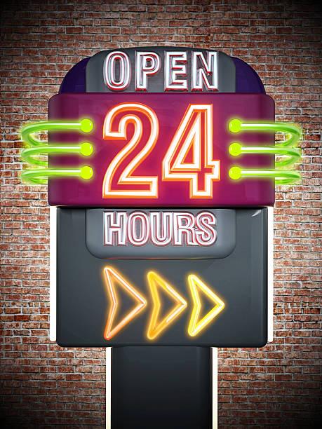 open 24 hours signboard - sprüche zeit stock-fotos und bilder