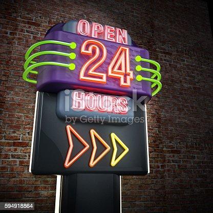 istock Open 24 hours signboard 594918864