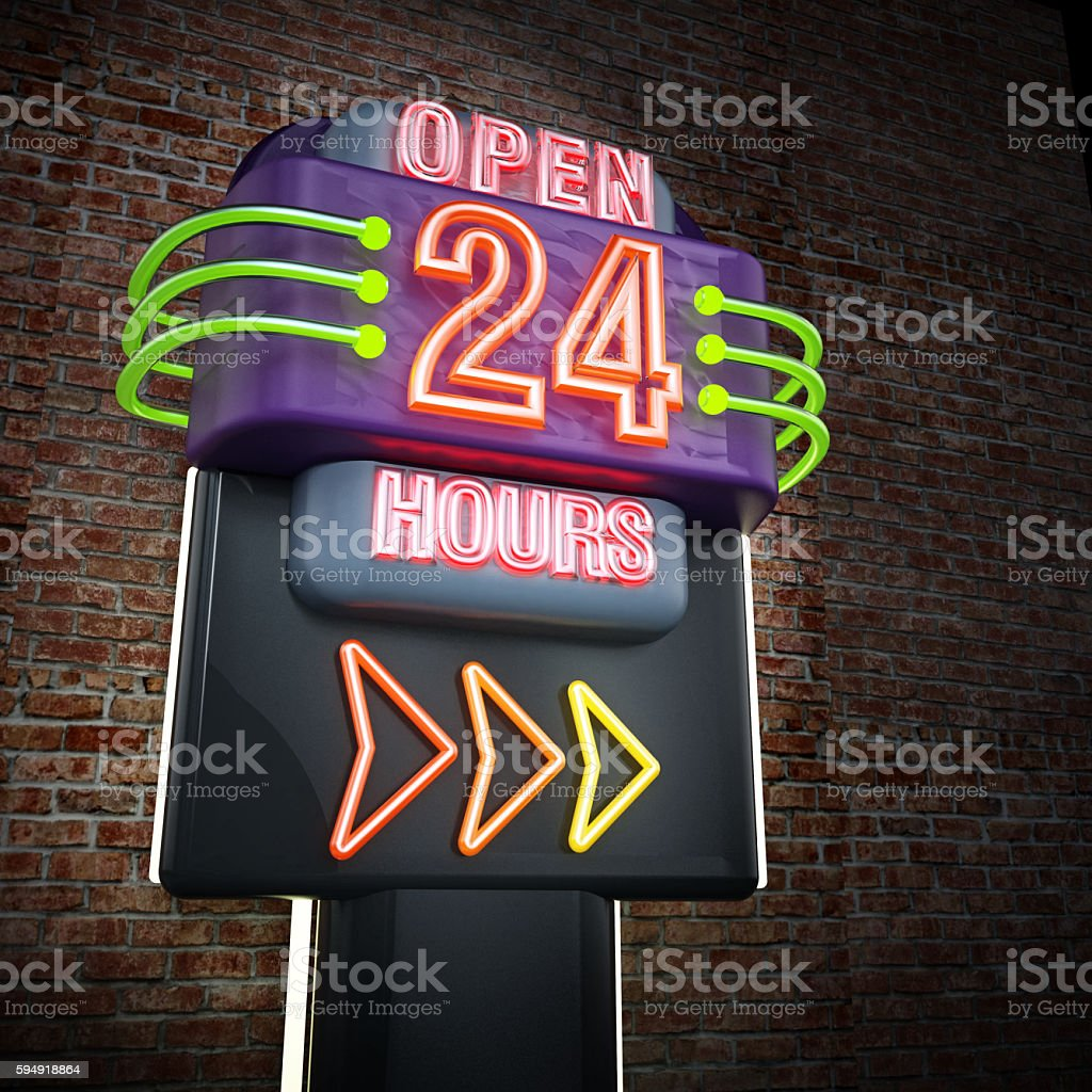 Open 24 hours signboard stock photo
