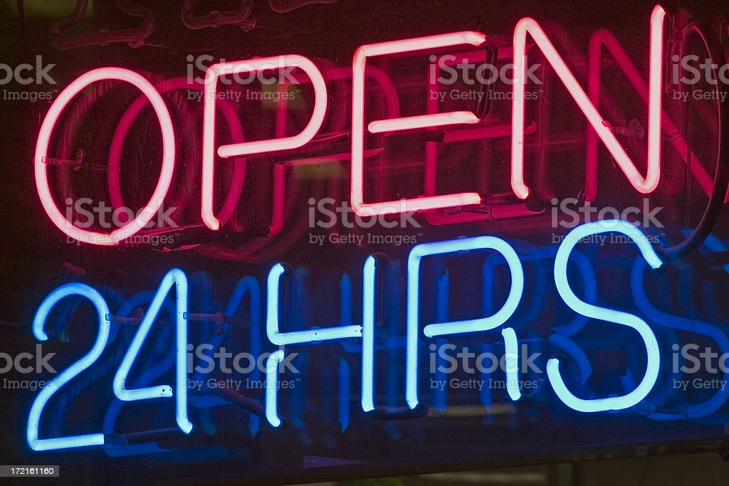 Open 24 hrs Neon stock photo