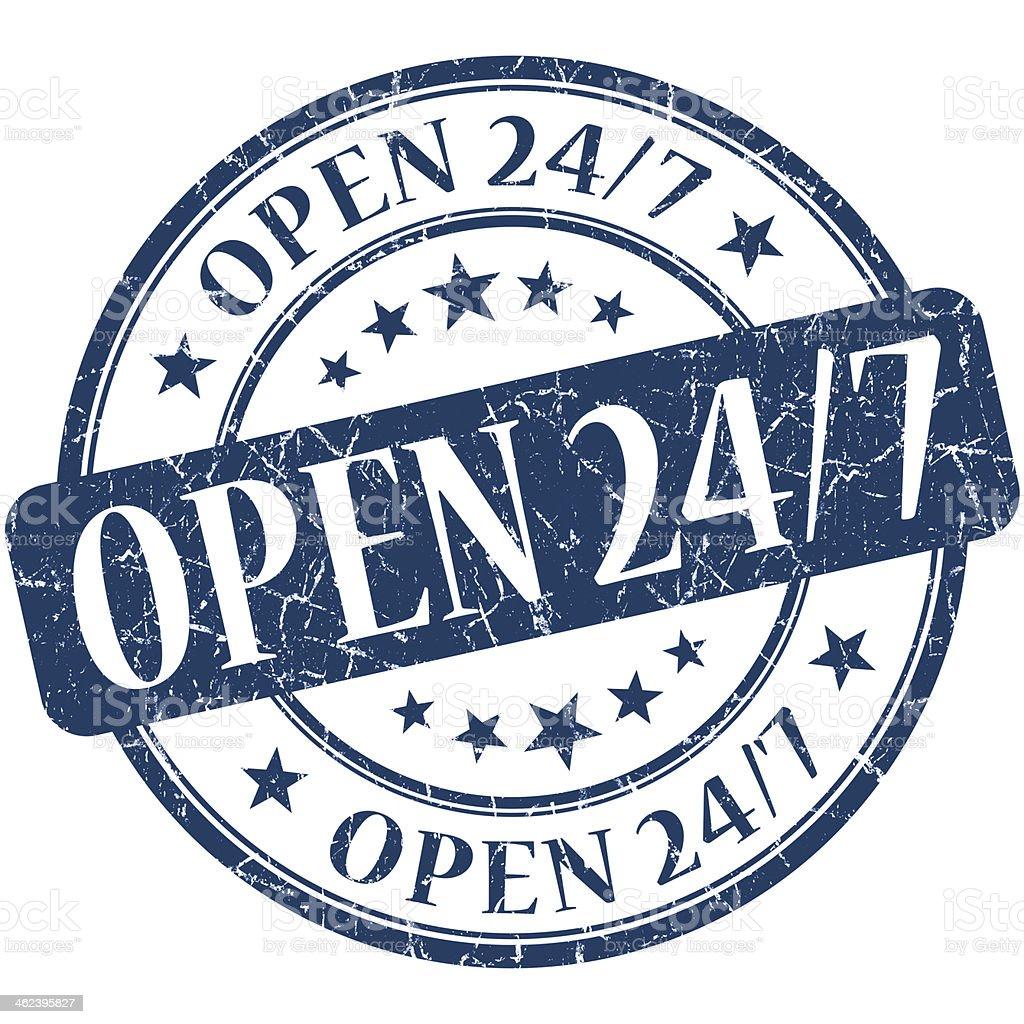 Open 24/7 grunge blue round stamp stock photo