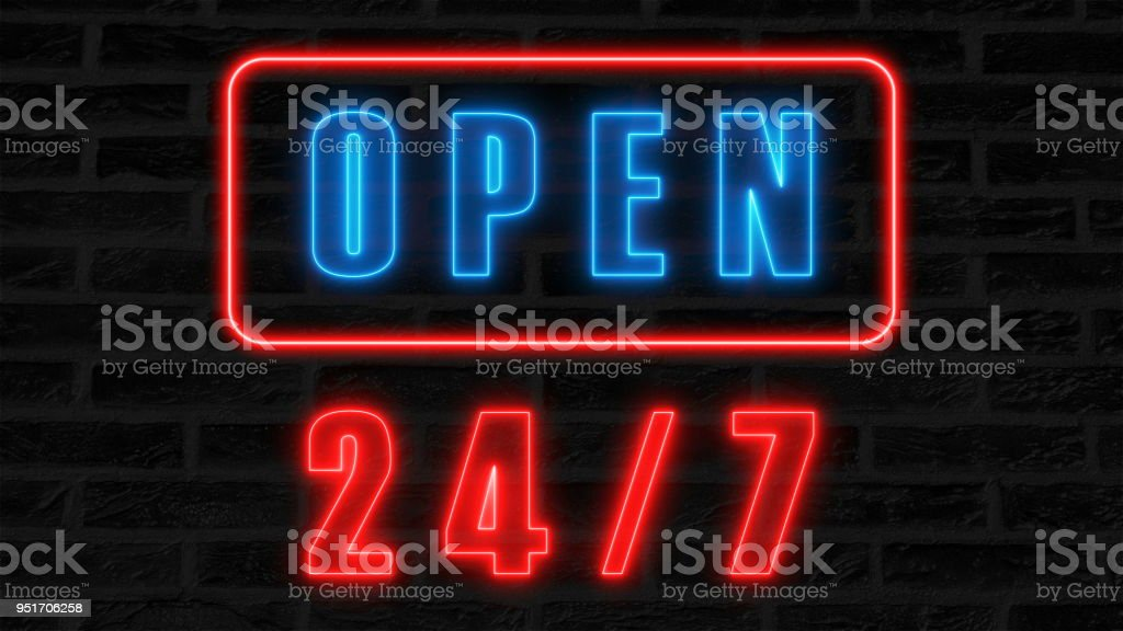 Open 24-7 neon sign, retro style signboard for bar or club, 3d render computer generated background stock photo