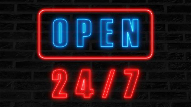 ouvert 24-7 au néon, enseigne de style rétro pour bar ou un club, 3d render générées par ordinateur fond - nombre 24 photos et images de collection