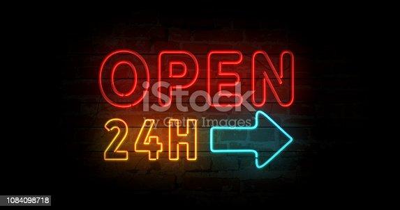 istock Open 24h neon sign 1084098718