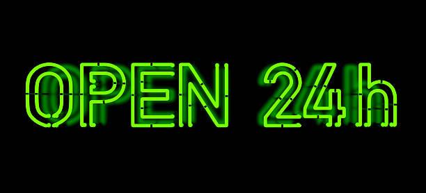Open 24h- Neon Sign stock photo