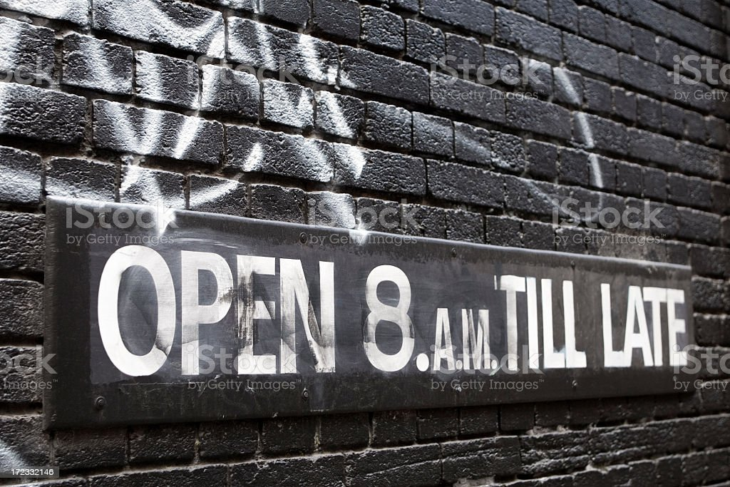 Open 8am Till Late sign royalty-free stock photo