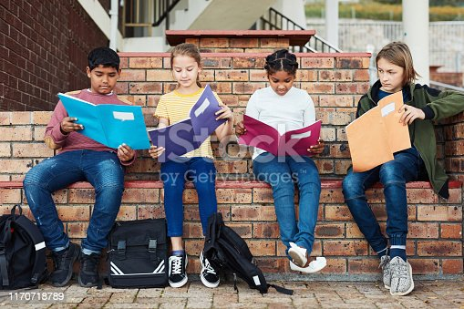 Shot of a group of children reading books outside on school grounds