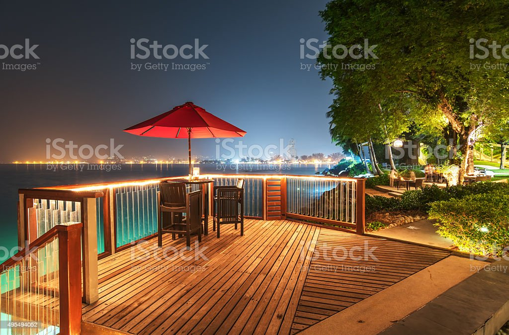 Open air cafe bar on the sea view terrace stock photo