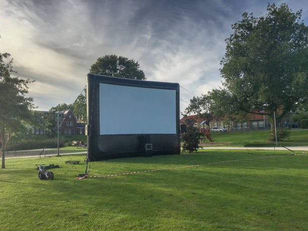 Open air cinema event in Public Park stock photo