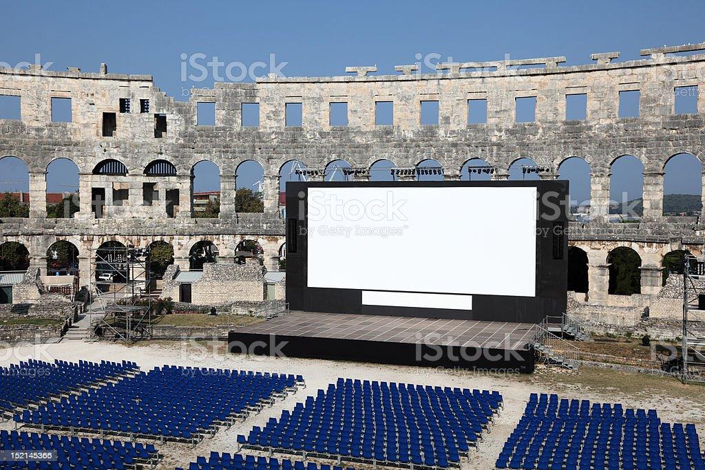 Open Air Cinema in Roman Arena, Pula royalty-free stock photo