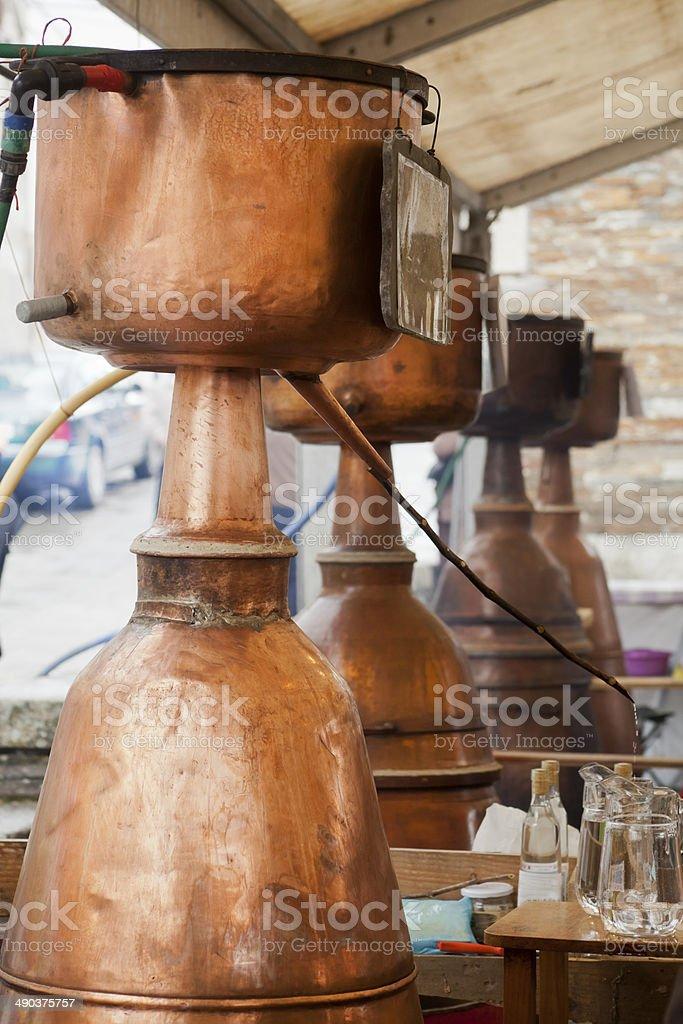 Open air distillery stock photo