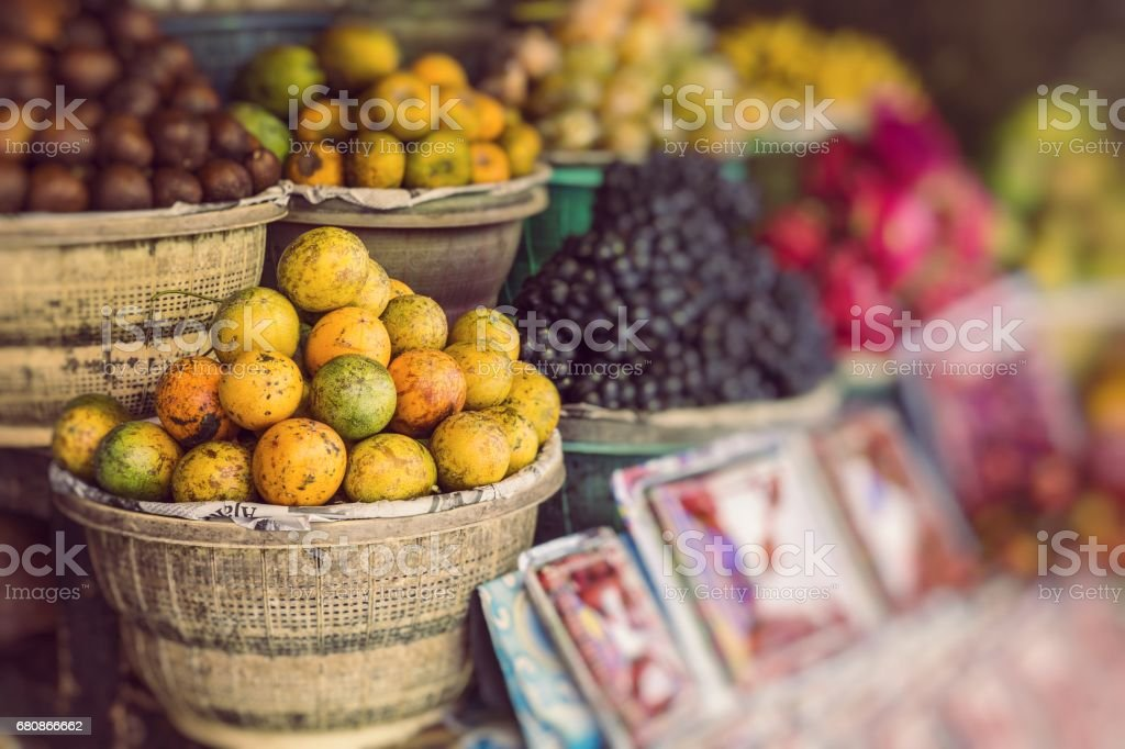 Open air fruit market in the village in Bali, Indonesia. royalty-free stock photo