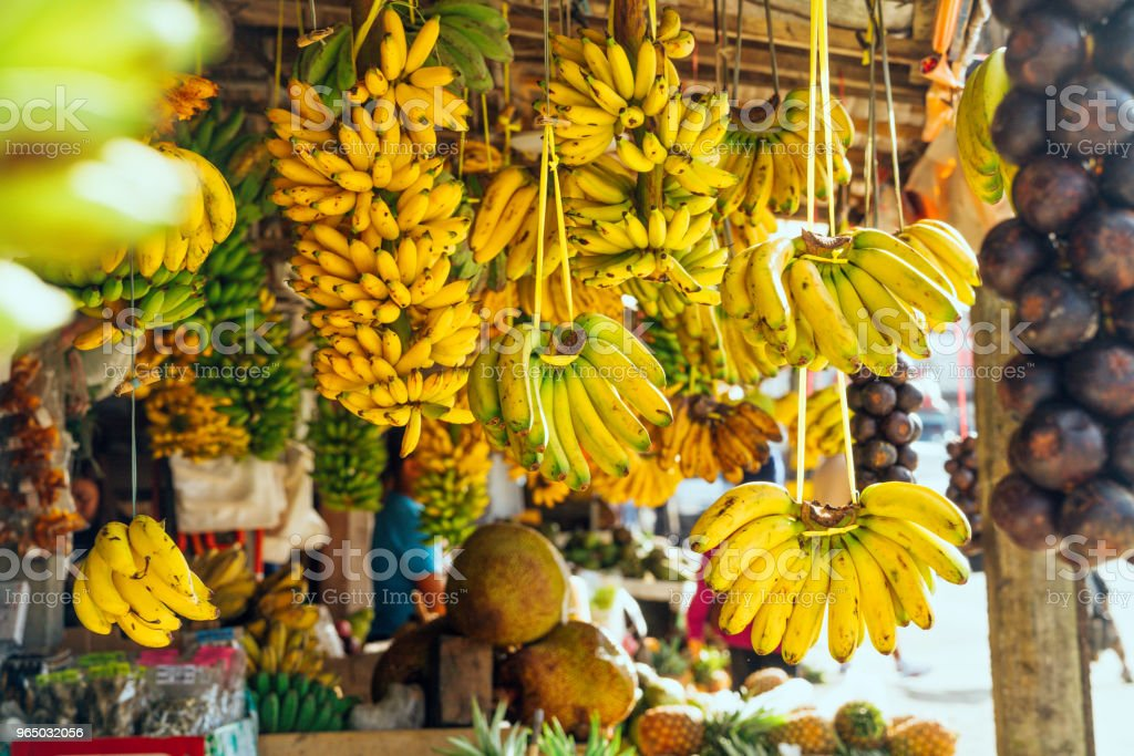 Open air fruit market with bananas royalty-free stock photo