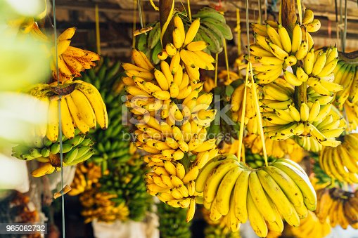 Open air fruit market with bananas