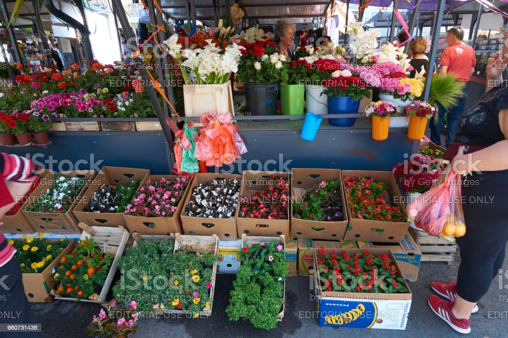Open air retail maket. Woman sells fresh cut flowers and flower...