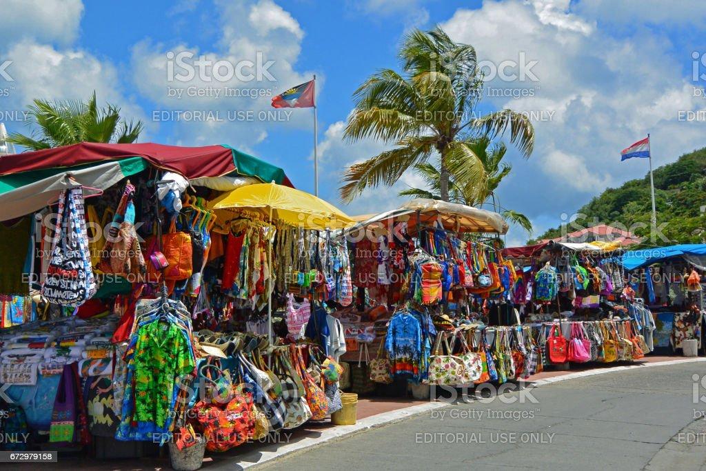 Open air market, Marigot, St Martin stock photo
