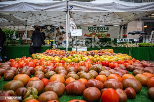 istock Open air market with fresh vegetables. Chicago, Illinois, US. 1179629466